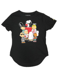 Peanuts Junior Womens Black Snoopy & Charlie Brown Halloween Tee Shirt