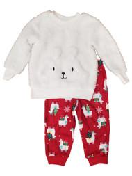 Infant Girls Christmas Holiday Llamas & Presents Warm Cozy Pajamas Sleep Set 18M