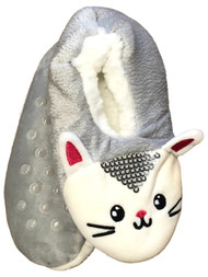 Girls Gray Sherpa Sequin Kitty Cat Ballet Slippers House Shoes