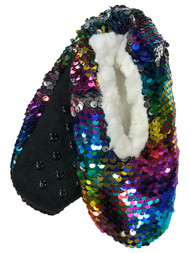 Girls Sherpa Lined Rainbow Flip Sequin Ballet Slippers House Shoes S/M (8-13)