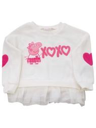 Peppa Pig Toddler Girls White & Pink XOXO Hearts Valentine's Day Sweatshirt