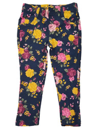 Toddler Girls Navy Blue Yellow Floral Flowers Roses Jeans Stretch Pants