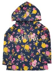 Toddler Girls Beautiful Floral Navy Blue Pink Yellow Roses Hoodie Tee T-Shirt