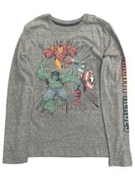 Sonoma Marvel Avengers Boys Long Gray Hulk Iron Man T-Shirt Tee Shirt