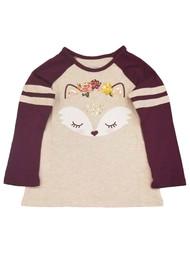 Toddler Girls Burgundy Purple Fox Flowers Long-Sleeve Tee Shirt T-Shirt