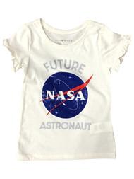 Toddler Girls Ivory Ruffled Short Sleeve NASA Astronaut T-Shirt Tee Shirt