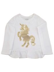 Toddler Girls White & Gold Sequins Unicorn Horse Ruffled Tee Shirt T-Shirt
