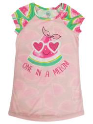 Girls Watermelon Pink Green One in a Melon Pajama Sleep Shirt Nightgown