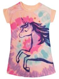 Girls Orange Pink & Purple Tie Dye Unicorn Stars Sleep Shirt Nightgown