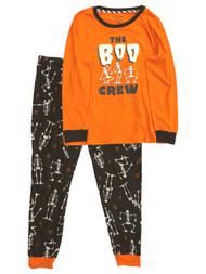 Womens Orange & Black Boo Crew Halloween Pajamas Skeleton Sleep Set