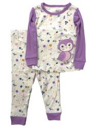 Infant & Toddler Girls Purple Floral Cotton Baby Owl Pajamas Sleep Set