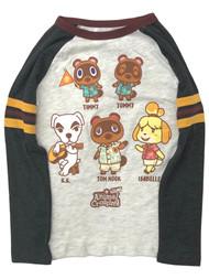 Animal Crossings Boys Gray Long Sleeve Raccoon Tee Shirt T-Shirt