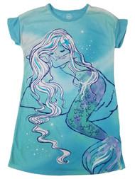 Girls Aqua Blue Green Mermaid Seashell Pajamas Sleep Shirt Nightgown