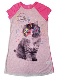Girls Pink & Gray Wish I Was A Unicorn Kitten Cat Sleep Shirt Nightgown