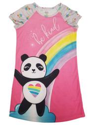 Girls Rainbow Pink Be Kind Happy Smiley Baby Panda Sleep Shirt Nightgown