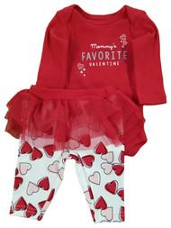 Infant Girls Mommy's Favorite Valentine Bodysuit Tulle Tutu Leggings