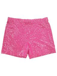 Girls Pink Sparkly Stretchy Gymnastics Athletic Spandex Gym Shorts Large (10-12)