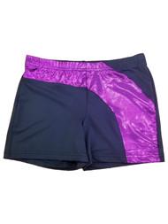 Girls Purple & Black Sparkly Athletic Gymnastics Gym Spandex Shorts