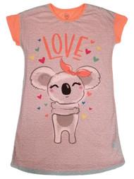 Girls Neon Orange & Gray Koala Love Hearts Pajamas Sleep Shirt Nightgown