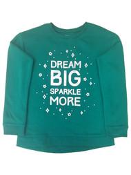 Jumping Beans Girls Green Dream Big Sparkle More Fleece Lined Sweatshirt