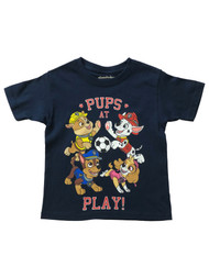 Paw Patrol Boys Blue Short Sleeve Pups At Play T-Shirt Puppy Dog Tee Shirt