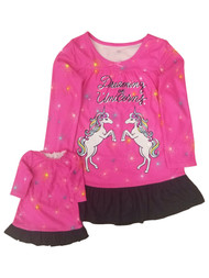 Girls Hot Pink & Black Dreaming Of Unicorns Matching Nightgown Pajama Set