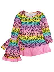 Girls Leopard Print Pink Yellow Purple Matching Neon Nightgown Set