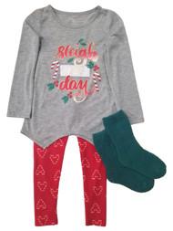 Girls Christmas Red & Green Sleigh All Day Holiday Sleep Pajamas Shirt & Pants