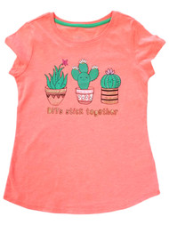 Girls Neon Coral Cactuses BFFs Stick Together T-Shirt Graphic Tee Shirt M (7-8)