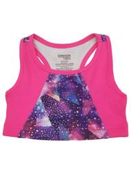 Girls Pink & Purple Patterned Athletic Sports Bra Active Wear