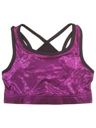 Girls Purple & Black Shimmery Athletic Sports Bra Active Wear