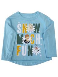 Disney Frozen Toddler Girls Elsa Anna Blue Snow Much Fun T-Shirt Tee Shirt
