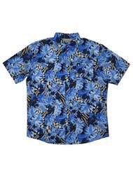 G.H. Bass & Co. Mens Nebulas Blue Hawaiian Untucked Button-Down Shirt
