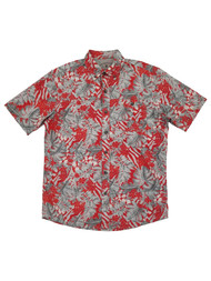 G.H. Bass & Co. Mens Gray & Red Hawaiian Untucked Button-Down Shirt