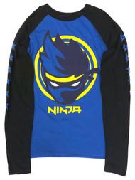 Ninja Boys Blue & Black Long Sleeve Video Game Tee Shirt Gamer T-Shirt