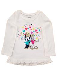 Disney Infant Girls Minnie Mouse Daisy Duck Hearts Cream Tee Shirt T-Shirt