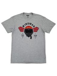 Topgun Mens Heather Gray Wingman Graphic Tee Short Sleeve T-Shirt