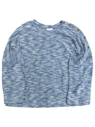Womens Speckled Heather Blue Relaxed Fit Textured Sweater Top Shirt