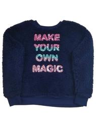 Girls Dark Blue Furry Make Your Own Magic Soft Hoodie Sweatshirt Faux Fur