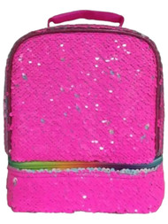 Dual Compartment Insulated Lunchbox with Hot Pink Magic Sequins, Lunch Bag