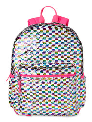 """Wonder Nation Checkered Jewel 16"""" Backpack with Sequins, School Bag"""