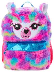 "Wonder Nation Fuzzy Rainbow Fur Llama 16"" Backpack, School Bookbag"