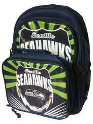 """Seattle Seahawks Lightning Kids Sports 16"""" Backpack & Insulated Lunch Box"""
