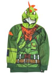 Fortnite Boys Green Rex Dinosaur Cosplay Hoodie Zip Front Sweatshirt XL (14-16)