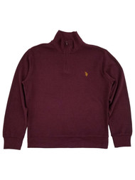 U.S. Polo Assn. Mens Burgundy Quarter Zip Flatback Pullover Sweatshirt