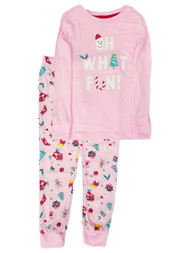 Girls Pink Oh What Fun Christmas Holiday Pajamas Shirt & Pants Set
