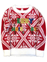 Womens Fuzzy Red Glitter Sequin Merry Christmas Holiday Sweater