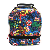 Marvel Avengers Dual Compartment Insulated Lunch Bag - All-Over Comic Lunchbox