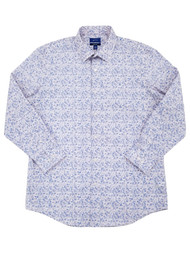 Mens Pink & Blue Floral Premier Flex Slim Fit Long Sleeve Dress Shirt