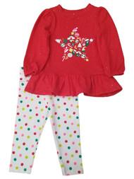 Infant & Toddler Girls Christmas Outfit Festive Red Shirt Polka Dot Pants